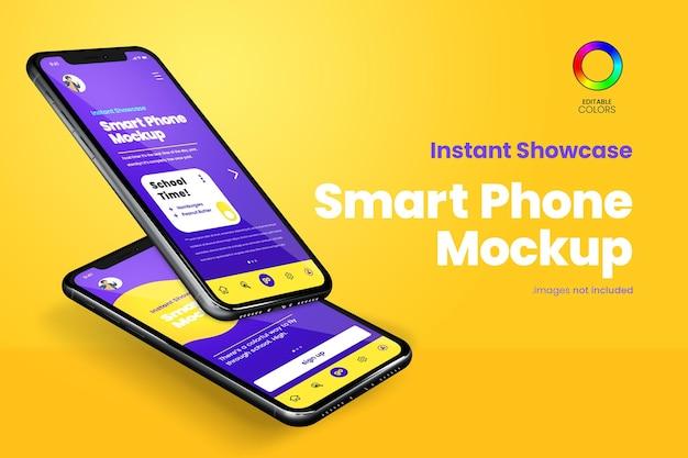 Phone mockup of two floating smartphones