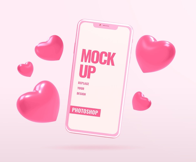 Phone mockup for valentine with heart shapes