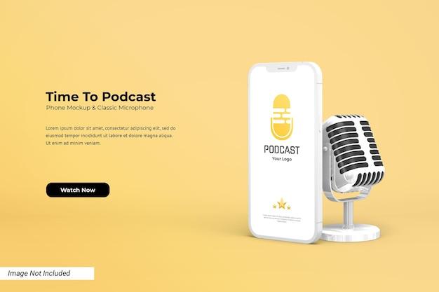 Мокап телефона с классическим 3d микрофоном