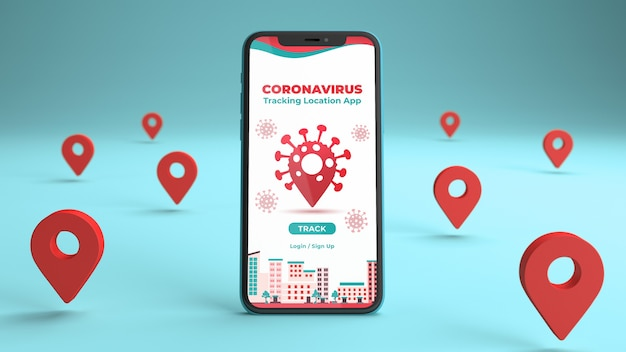 Phone mockup with a coronavirus tracking location app