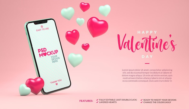 Phone mockup with floating hearts and copyspace. valentines day template in 3d rendering