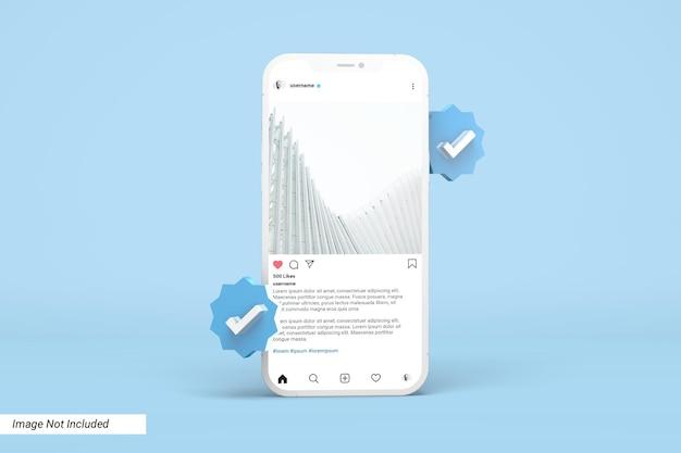 Instagram 게시물 템플릿 및 3d 확인 아이콘이있는 전화 모형