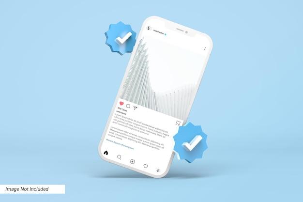 Мокап телефона с шаблоном сообщения instagram и значком 3d verified Premium Psd