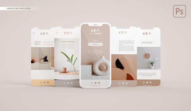 Макет телефона с различными экранами в 3d-рендеринге. концепция дизайна приложения