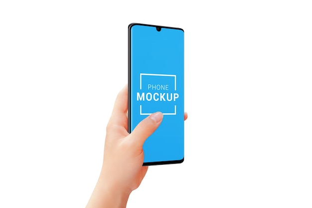 Phone mockup in woman hand isolated