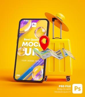 Телефонный макет с желтым багажом, булавкой для карты и шляпой, концепция путешествия, фон, 3d-рендеринг