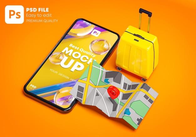 Телефонный макет желтый чемодан и красная булавка карта путешествия концепция праздника 3d-рендеринг