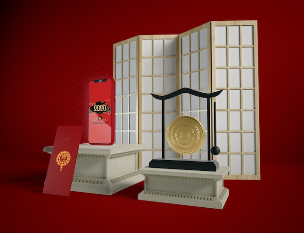 Phone new year greeting card and chinese objects