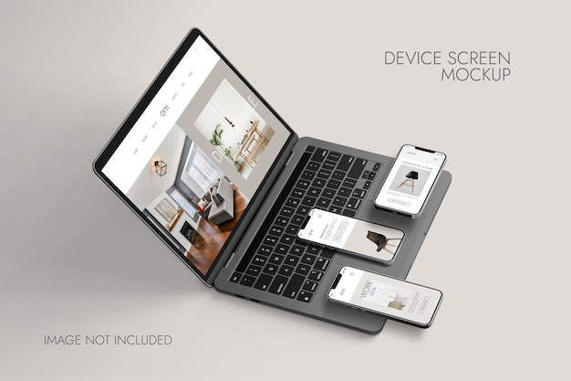 Phone and notebook screen - device mockup