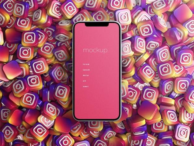 흩어져있는 3d instagram 로고 더미가있는 전화 화면 장치 모형