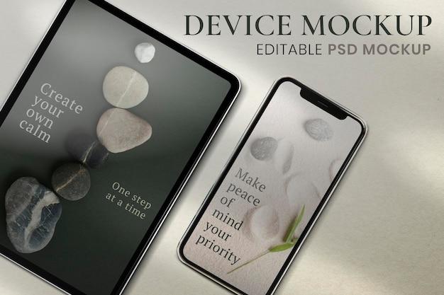 Макет экрана телефона, эстетический дизайн пространства psd