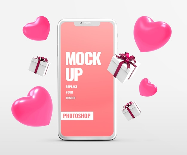 Рекламный макет подарка на валентинку на телефоне
