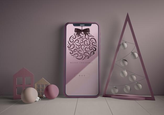 Phone with christmas theme mock-up