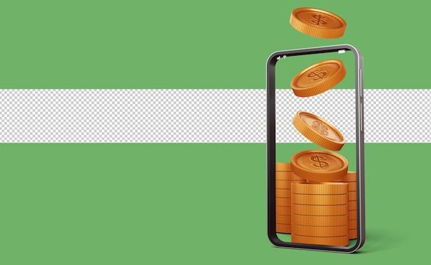 암호 화폐 bitcoin 기호 3d 렌더링이 있는 전화