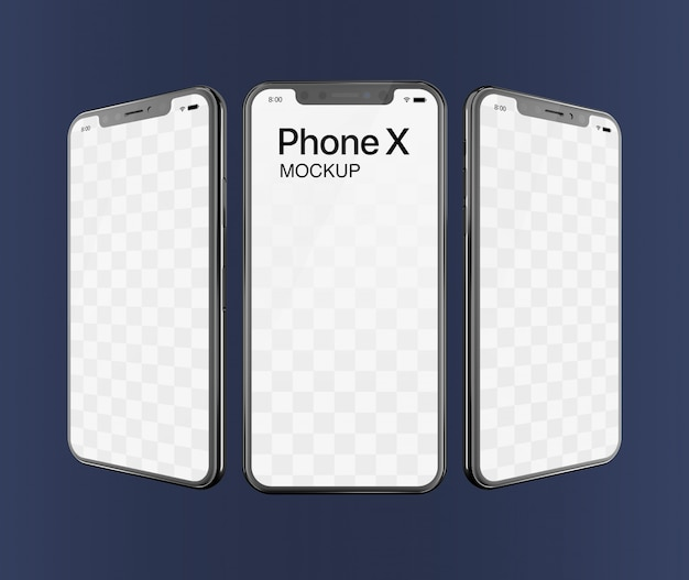 Phone x mockup triple screen