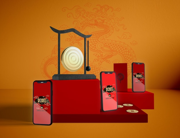Phones mock up on chinese new year background