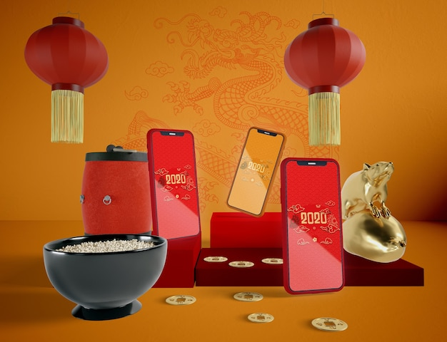Phones mock-up for chinese new year eve