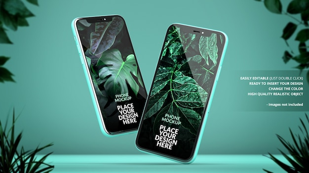 Phones mockup on a green background with plants