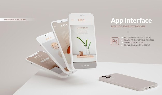 アプリのデザイン プレゼンテーション用のコピー スペースを備えた電話のモックアップ。