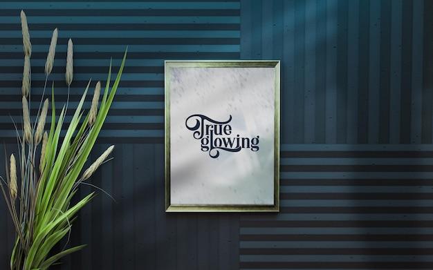 사진 및 포스터 아름다운 식물이 있는 침실 인테리어 배경의 모형 프레임 3d 렌더링