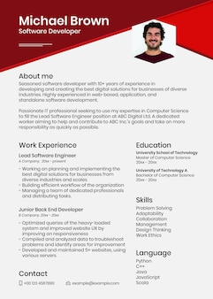 Photo attachable resume template psd in abstract design