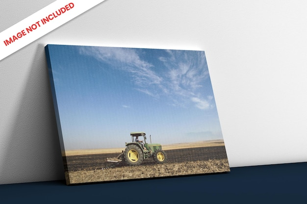 Photo canvas side view mockup