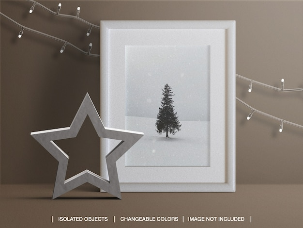 Photo card frame mockup for holiday with christmas lights and decoration