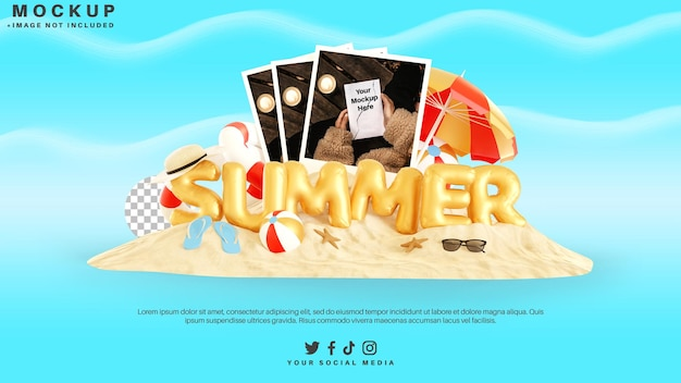 夏の要素とテキストで写真カードのモックアップ