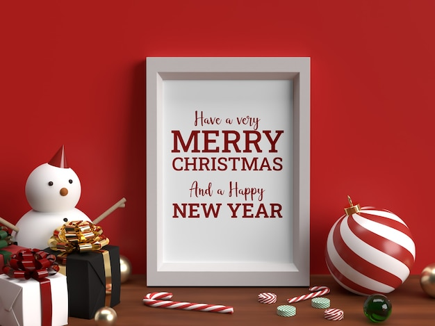 Photo christmas horizontal frame mockup realistic scene