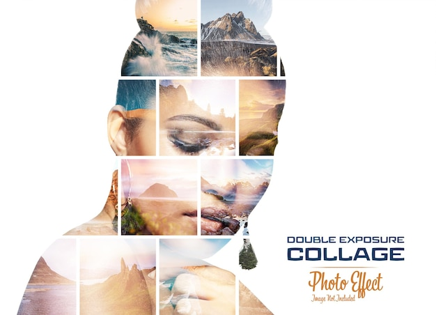 Photo collage double exposure effect mockup
