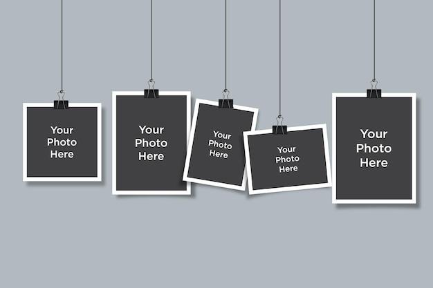 Photo collage mockup composite empty photo frame mockup