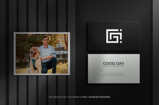 Photo frame and business card mockup