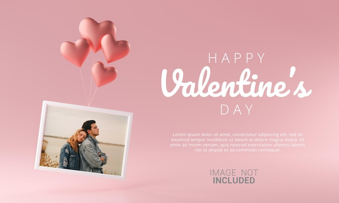 Photo frame flying with love heart balloon mockup template happy valentine banner