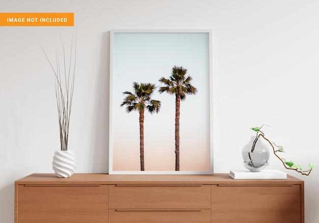 거실 3d 렌더링의 모형을위한 사진 프레임