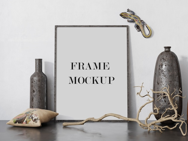 Photo frame mockup beside ancient vases