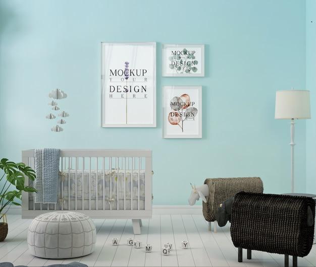 Photo frame mockup in blue nursery room