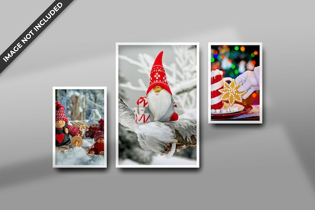 Photo frame mockup for christmas or new year mockup psd