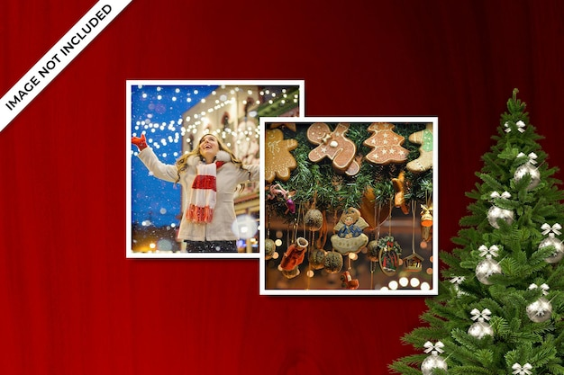 Photo frame mockup for christmas or new year mockup and red background psd