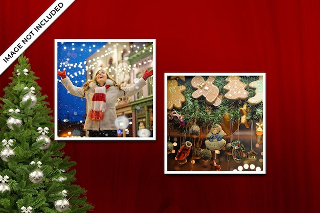 Photo frame mockup for christmas or new year mockup and red background
