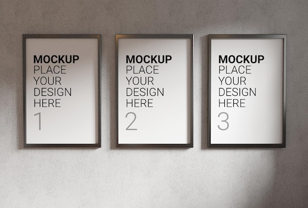Photo frame for mockup on concrete wall 3d rendering