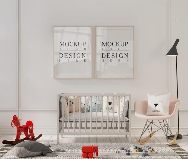 Photo frame mockup in cute interior of nursery room