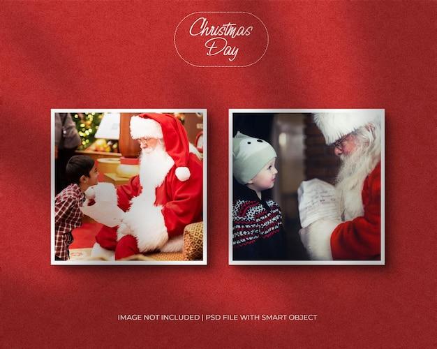 Макет фоторамки на рождество или новогодний макет и красный фон с наложением теней