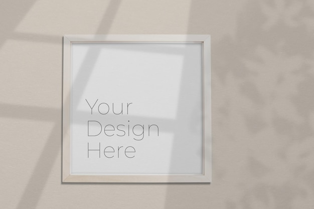 Photo frame mockup on grey with shadow overlay