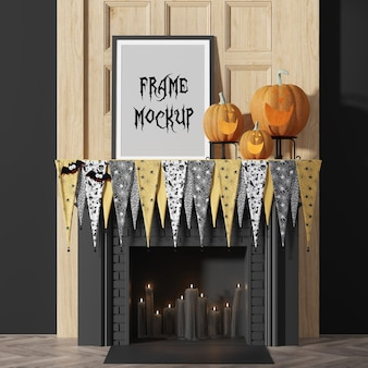 Photo frame mockup for halloween party, next to pumpkins