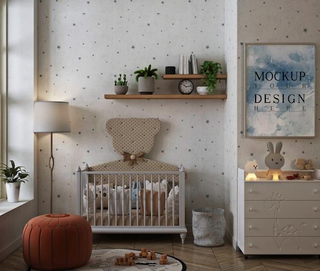 현대 고전적인 아기 침실의 사진 프레임 모형