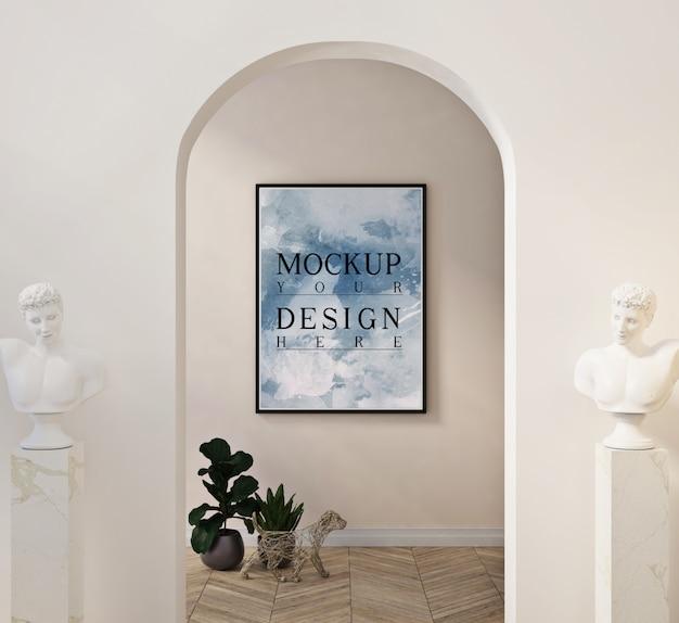 装飾と台座の上の像のあるモダンなリビングルームのフォトフレームモックアップ