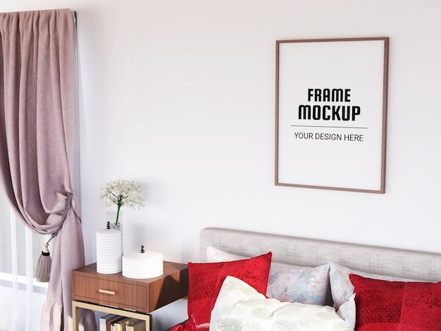 Мокап фоторамки в современной спальне