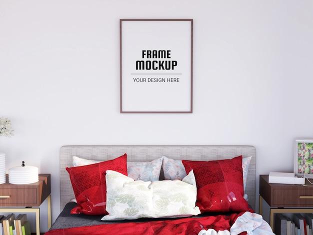 モダンなベッドルームのフォトフレームモックアップ