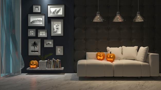 Photo frame mockup. an interior design in halloween festival. pumpkin head on sofa