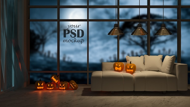 Photo frame mockup. an interior design in halloween festival. pumpkin head on sofa